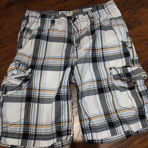 Buckle Casuals Cargo Shorts Multicolor Plaid 32